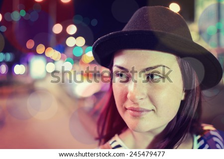 Young people on the night city street - stock photo