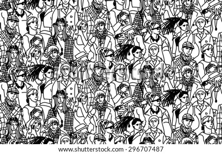 Young people seamless pattern group monochrome. Happy people in large group. Wallpaper black and white vector illustration - stock photo