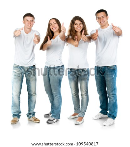 young people smiling over white background - stock photo