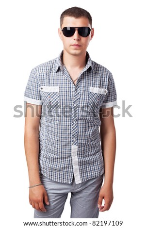 young person in sunglasses isolated on white background - stock photo