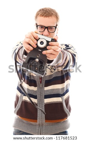 Young photographer with old camera make a photo shoot of you isolated on a white - stock photo