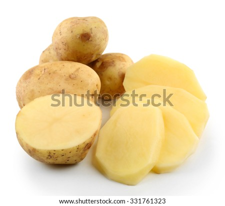 young potatoes isolated on white - stock photo
