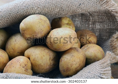 Young potatoes on sackcloth close up - stock photo