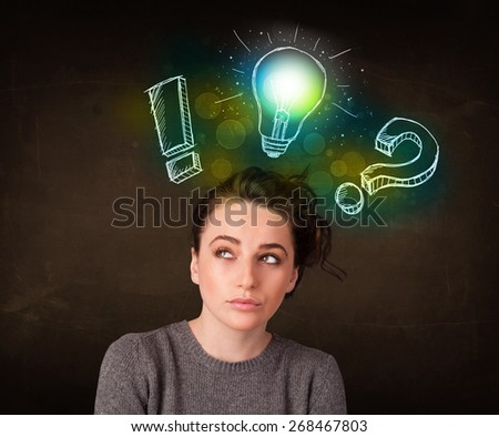 Young preety teenager with hand drawn light bulb illustration - stock photo