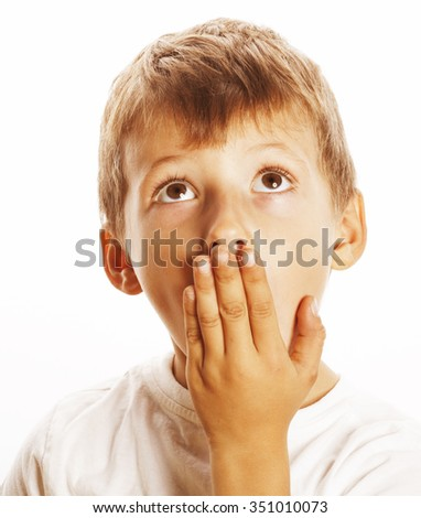 young pretty boy wondering face isolated on white gesture close up - stock photo