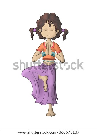 Young pretty girl doing yoga - Tree pose (Vrksasana) - stock photo