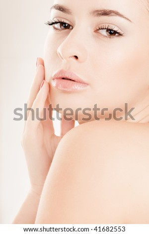 Young pretty girl with makeup portrait - stock photo