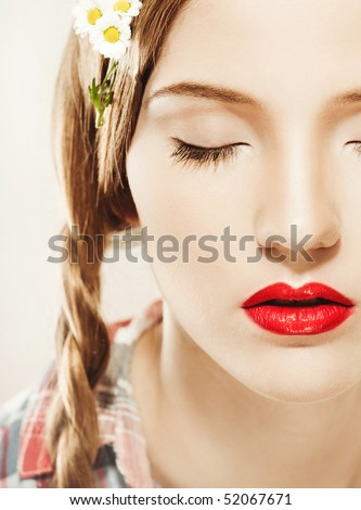 Young pretty girl with red lips portrait - stock photo