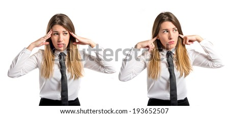 Young pretty woman covering her ears over white background  - stock photo