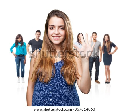 young pretty woman doing number five gesture - stock photo