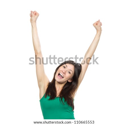 Young pretty woman hands up raised arms, screaming yelling isolated on a white background - stock photo