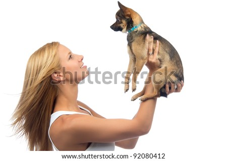 Young pretty woman hold in hands small Chihuahua dog or puppy on a white background - stock photo
