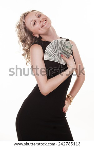 Young pretty woman holding dollars - stock photo