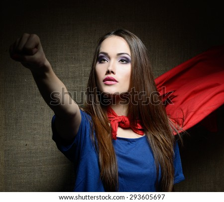 Young pretty woman opening her shirt. Beauty saves the world. - stock photo