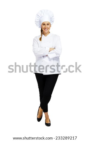 Young professional chef woman. Smiling - stock photo