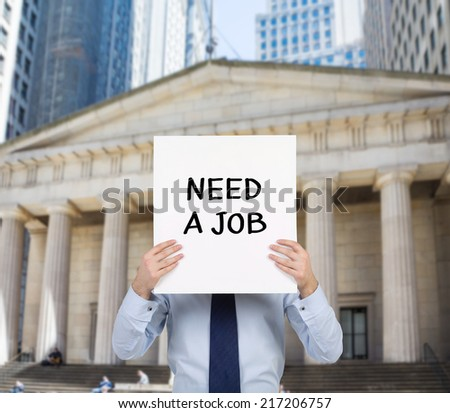 young professional looking for a job. A concept of Crisis in financial sector. - stock photo