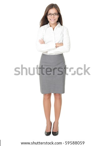 Young professional woman. Asian Chinese / white Caucasian businesswoman isolated on white background in full body. - stock photo