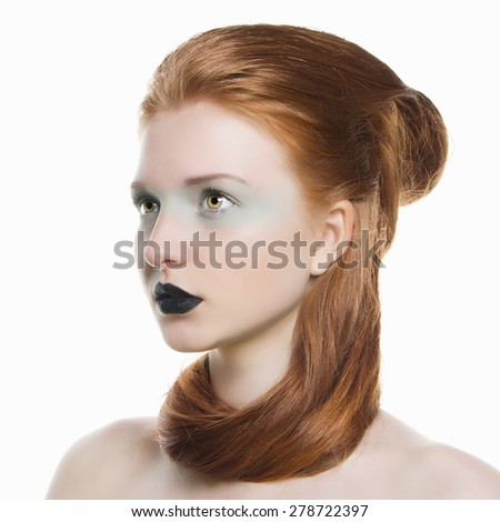 Young red hair woman with black lips.Beautiful girl model with make-up.Isolated Unusual freak - stock photo