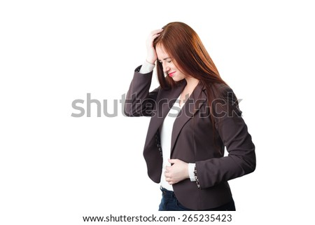 Young redhead Business woman with headache holding her hand to the head. Isolated on white background - stock photo