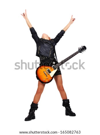 young rock girl with electric guitar - stock photo
