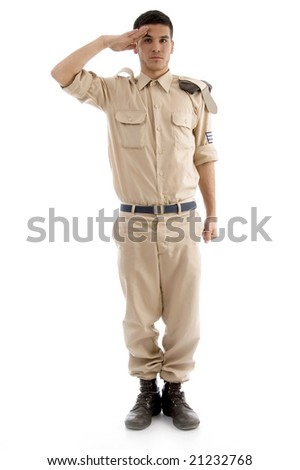 young saluting american guard on an isolated white background - stock photo