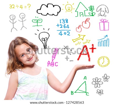 Young school girl with hand written school themed texts and pictures - stock photo