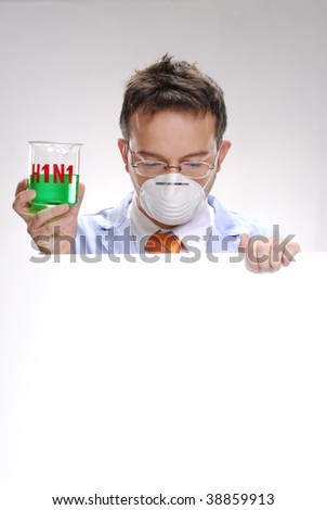 young scientist holding an experimental swine flu glass. A doctor holding a experimental glass. - stock photo