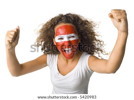 Young screaming Austrian sport's fan with painted flag on face and with clenched fist. Front view. Looking at camera, white background - stock photo