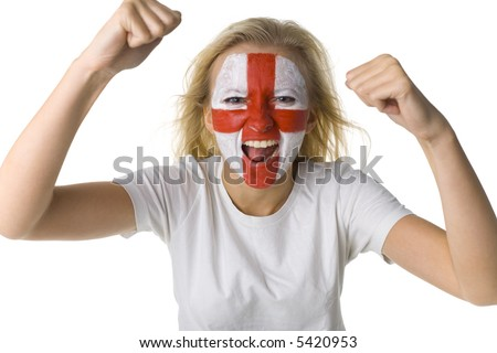 Young screaming English sport's fan with painted flag on face and with clenched fist. Front view. Looking at camera, white background - stock photo