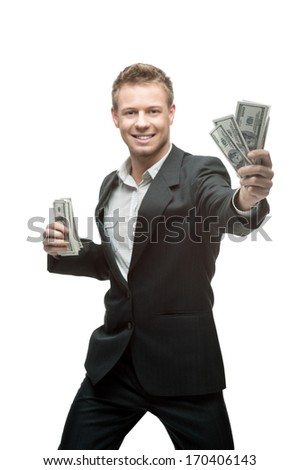 young screaming successful caucasian businessman in black suit holding money isolated on white - stock photo
