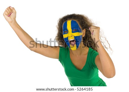 Young screaming Swedish fan with hands up and painted flag on faces. She's on white background. - stock photo