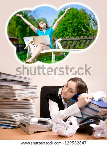 Young secretary with a lot of folders sleeping and dreaming of summer - stock photo