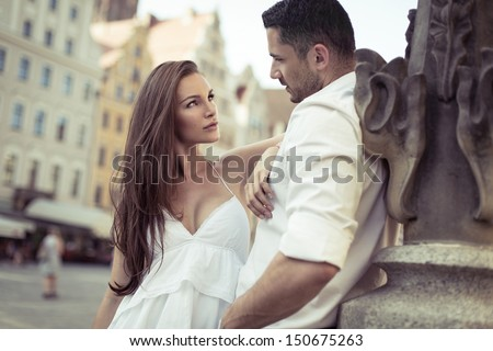 Young sensual couple - stock photo