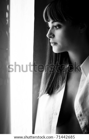 Young sensual woman portrait in black and white - stock photo