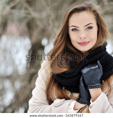 Young sensual woman portrait outdoors - stock photo