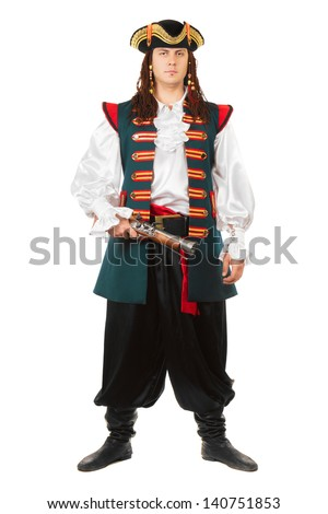 Young serious man wearing pirate costume. Isolated on white  - stock photo