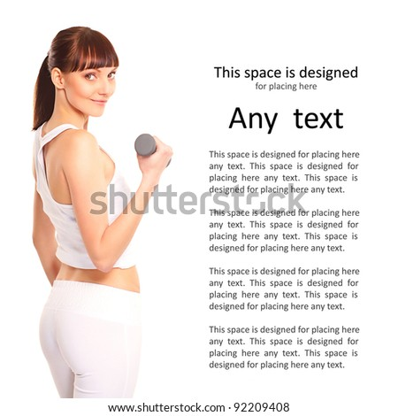 Young, sexy and sporty brunette isolated on white - stock photo