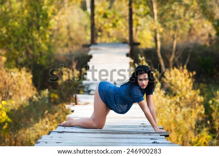 Young sexy brunette woman posing on bridge in autumn - stock photo