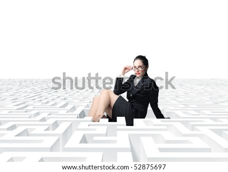 young sexy  businesswoman in 3d  labyrinth - stock photo