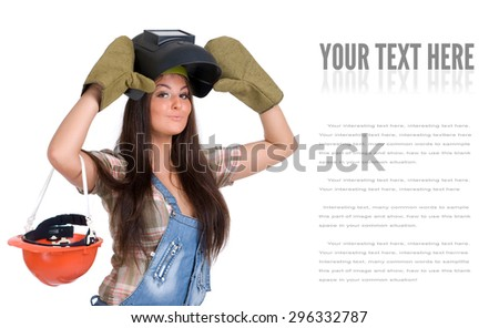 Young sexy female dressed in jeans and weld helmet. White isolated background. Welding mask. - stock photo