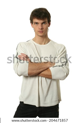 Young sexy man isolated on white - stock photo