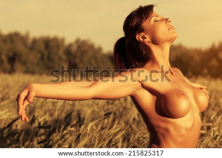 Young sexy naked woman at summer field. - stock photo