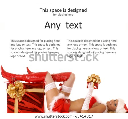 Young sexy Santa with a christmas presents isolated on white - stock photo