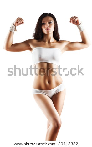 Young sexy sporty woman. Isolated on white. - stock photo