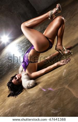 Young sexy woman. Camera angle view. - stock photo