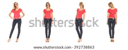 Young sexy woman in  jeans isolated on white - stock photo