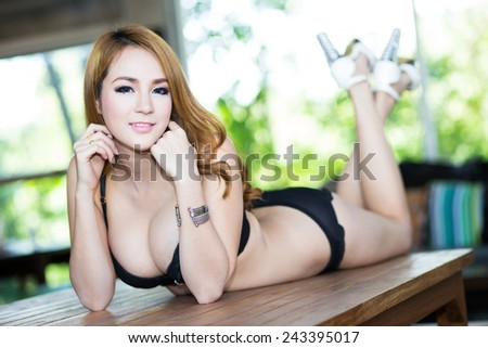 Young sexy woman in lingerie - stock photo