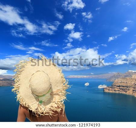 Young sexy woman in Oia  Santorini island Greece - stock photo