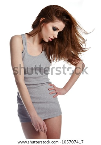 young sexy woman on white - stock photo