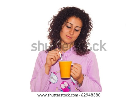 Young Sick Woman Drink Hot Beverage - stock photo